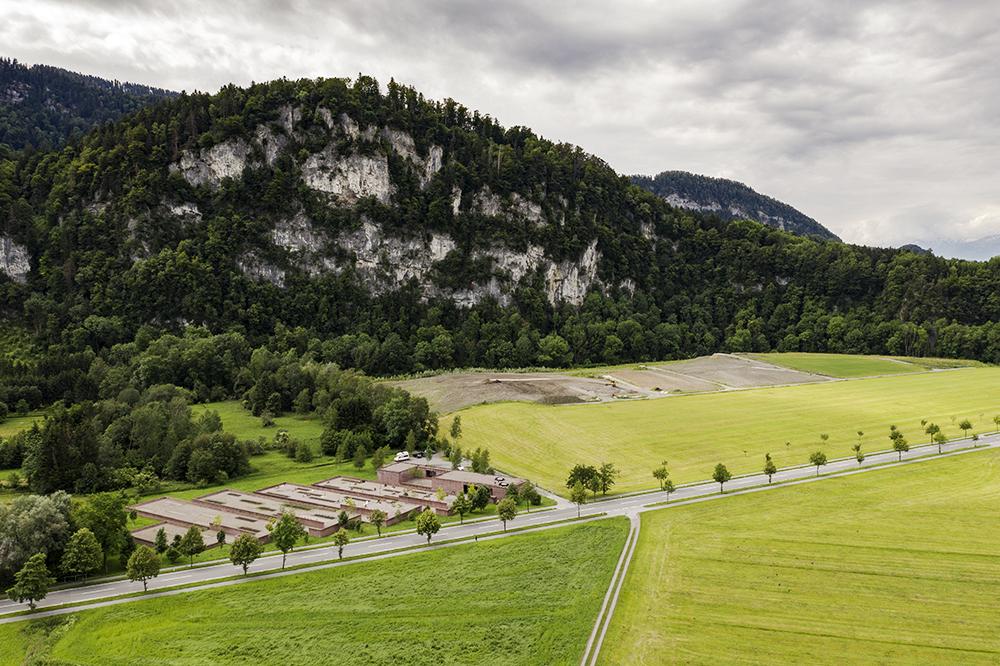 Aerial view of Islamic Cemetery in Altach, Austria by Bernardo Bader, architect   © photo Jesús Granada